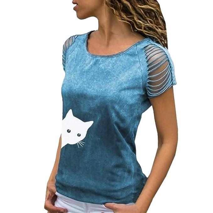 Amazon.com: Camiseta de manga corta para mujer con cuello en ...