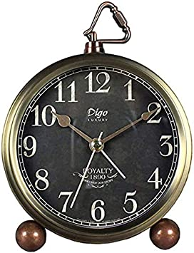 BAIDOLL Relojes De Mesa Pequeños, 5.2In Golden Negro Classic No Ticking Cuarzo Tablero Alarma De Alarma Escritorio De Batería con Retroiluminación HD De Vidrio