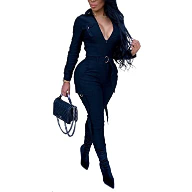 22806293b94f ECHOINE Women s Sexy Zipper V-Neck Bodycon Jumpsuit Stretchy Long Sleeve  Rompers Black S