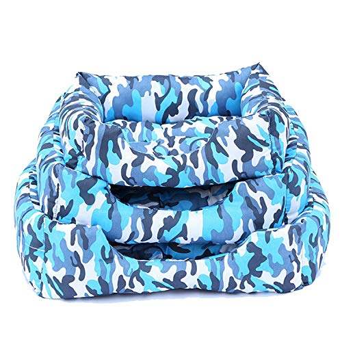 (Poooyun-Life Winter Warm Dog Beds Dog Camouflage Striped Kennel Cat Pad Pet Bed Dog Mat Cushion Puppy Sofa Pet Supply,Blue)
