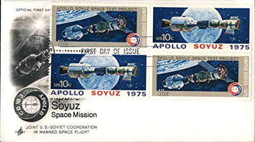 Apollo-Soyuz Space Mission - Joint U.S.-Soviet Cooperation in Manned Space Flight Block of Stamps Original First Day Cover ()