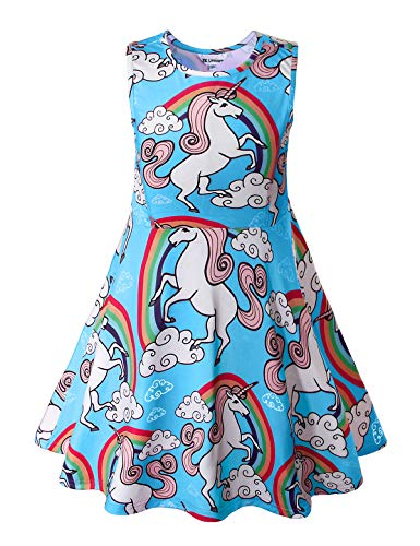 (Unicorn Party Supplies, Girls Dresses, Blue 4-5Years)