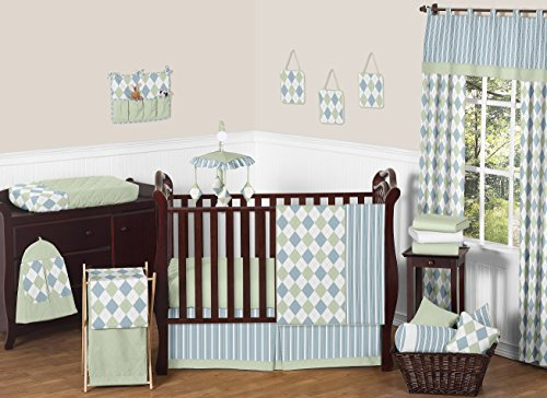 Modern Blue and Green Argyle Baby Boy Beddings 11pc Crib Set Without Bumper