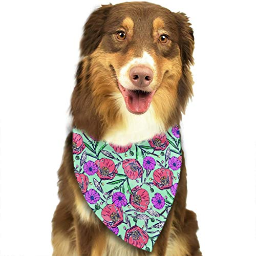 ANYWN Pet Dog Bandanas Triangle Bibs Scarfs Wildflower Poppy Flower Pattern Accessories for Puppies Cats Pets Animals Large -