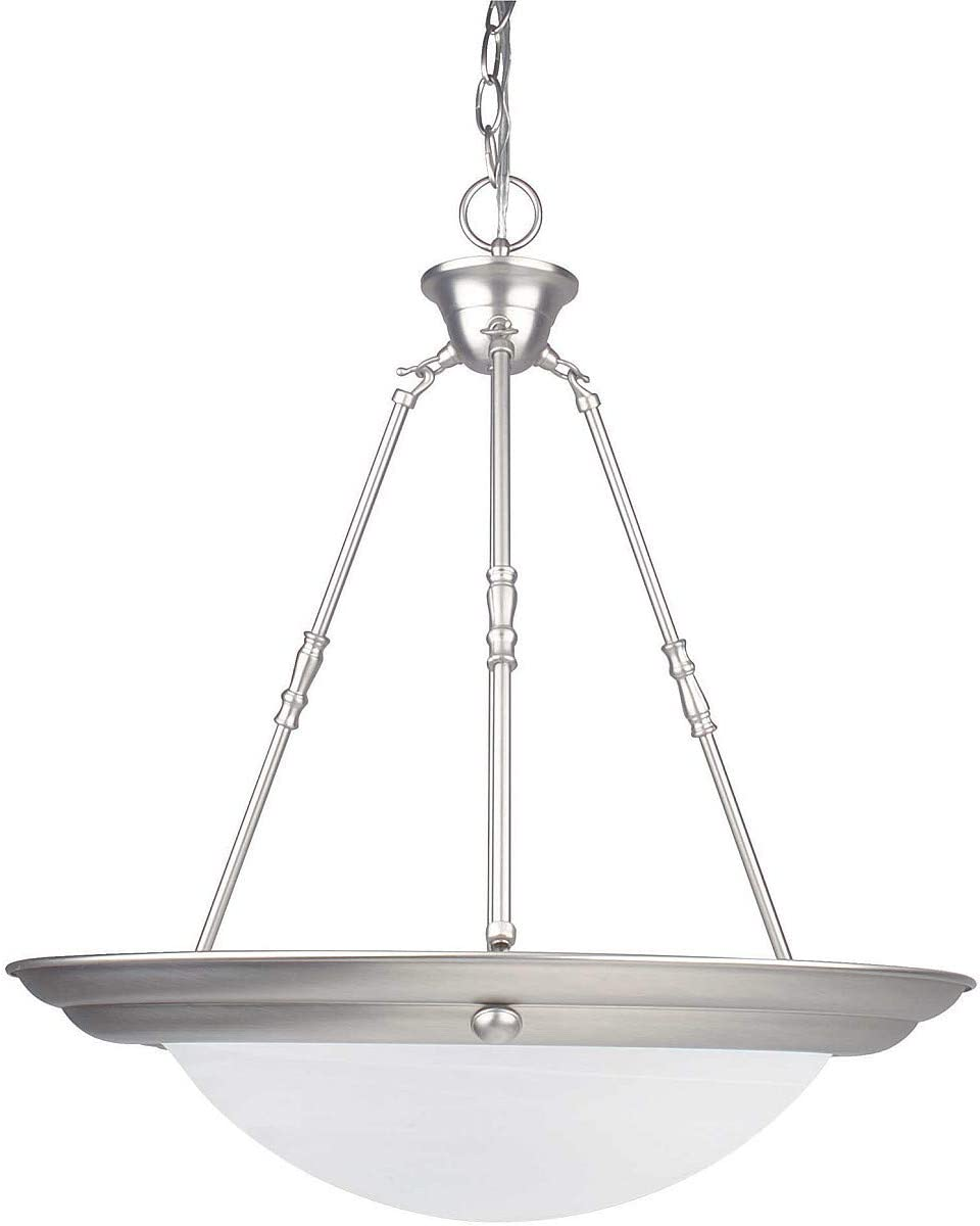 Sunset Lighting F7678-53 Three Light Bowl Pendant, Satin Nickel Finish with Faux Alabaster Glass