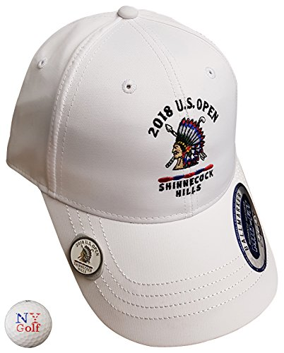 NEW YORK GOLF CENTER NYGC Men's 2018 U.S. Open Ahead Navy Smooth Lightweight Tech Shinnecock Adjustable Hat White Style 2