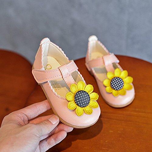 KVbaby Mary Jane Halbschuhe für Mädchen Baby Blume Ballerina Sandalen PU Leder Prinzessin Schuhe,Gr.21-30 Pink