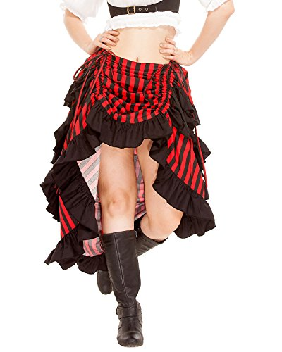 ThePirateDressing Steampunk Gothic Victorian Women's 100% Cotton Cosplay Costume Show Girl High-Low Skirt (Black- Red) (Large) -