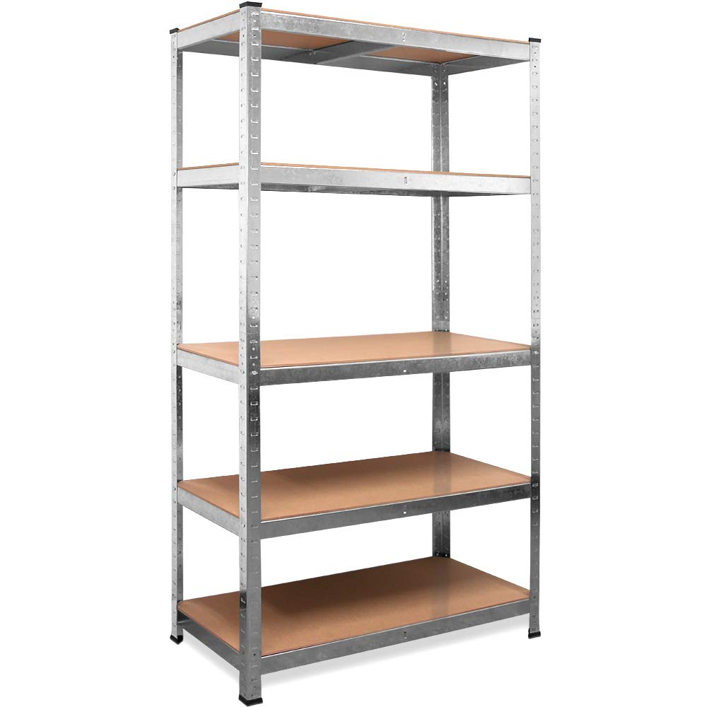 Deuba heavy duty industrial storage shelving unit shelves metal racking for garage shed shelf rack units mdf boltless silver 180 x 90 x 40 cm amazon co uk