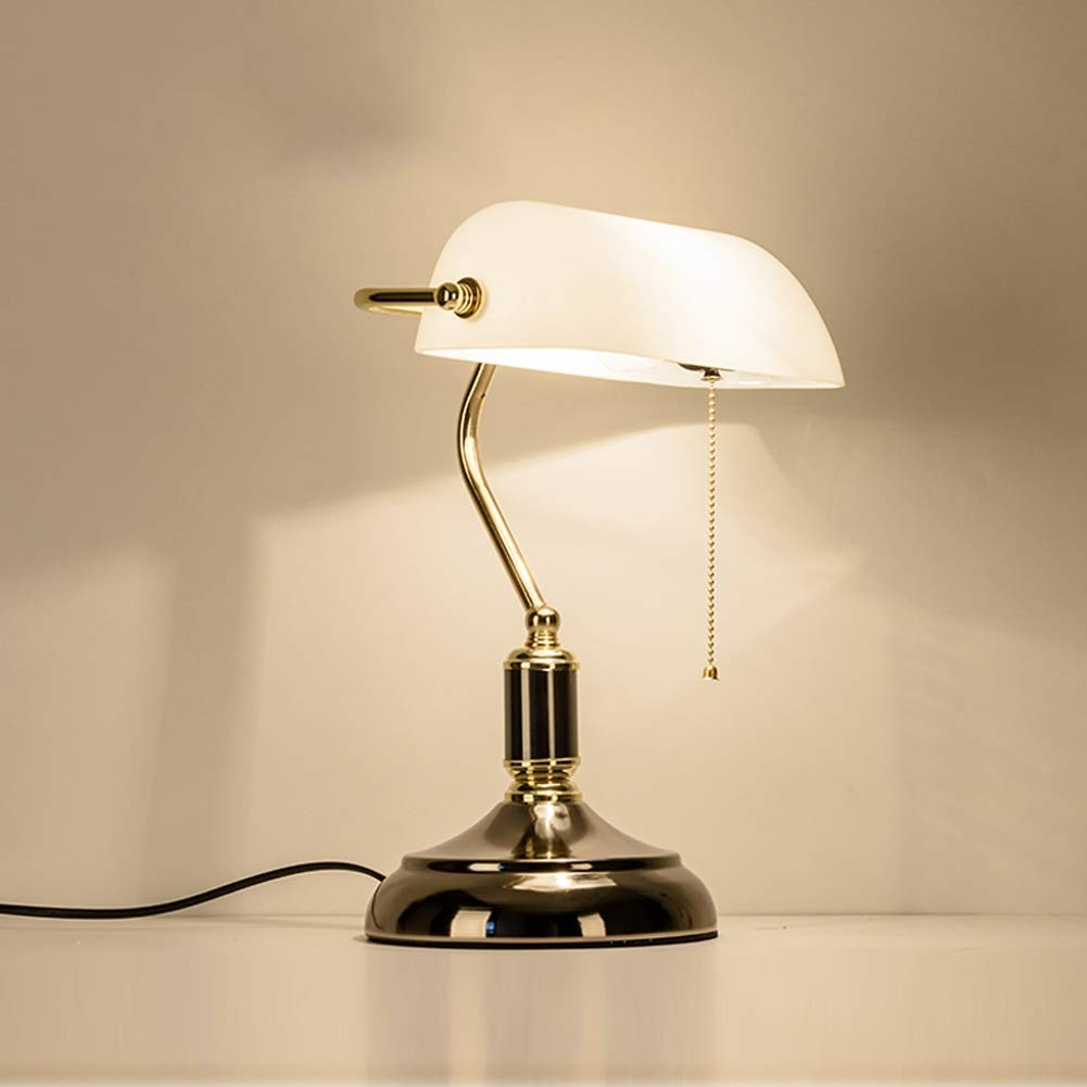 YE ZI Decorative Lighting Table lamp Table Lamp, Retro Piano Banker Lamp, Black Gold Appearance Metal Plating Base, White Glass Lampshade, Metal Beaded Rope Switch (E27) Reading Desk Lamp with