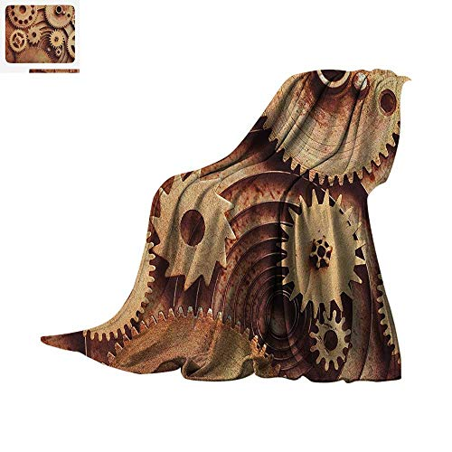 Mechanical Clock Copper (Industrial Warm Microfiber All Season Blanket Inside The Clocks Theme Gears Mechanical Copper Device in Steampunk Style Print Summer Quilt Comforter 80