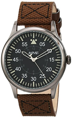 August Steiner Men's AS8125BR Black Swiss Quartz Watch with Black Dial and Brown Canvas over Nubuck Leather Strap