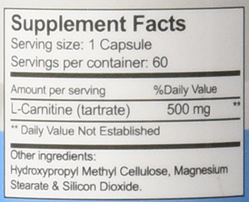 L Carnitine L Tartrate 500mg Powder Capsules High Potency Best Pure Essential Amino Acids USA Made Enhance Workout Performance And Recovery
