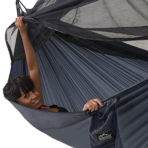 Everest Double Camping Hammock with Mosquito Net | Bug-Free Camping, Backpacking & Survival Outdoor Hammock Tent | Reversible, Integrated, Lightweight, Ripstop Nylon | Navy/Charcoal/Net Black