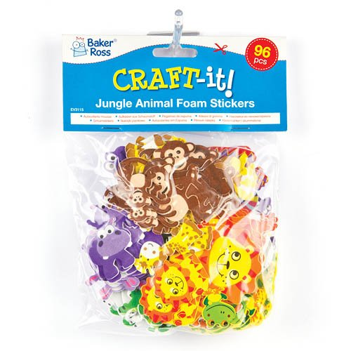 Kids Craft Activities Scapbooking /& Card Making Baker Ross Jungle Animal Foam Stickers 12 Assorted Designs Embellishments for Decorating Pack of 96 Kid/'s Craft Activities EV3115