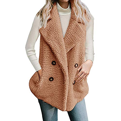 Shirt Crinkle Chiffon Front Button (iLUGU Casual Womens Vest Calsual Jacket Winter Sleeveless Coat Overcoat With Pocket Turn-Down Collar)