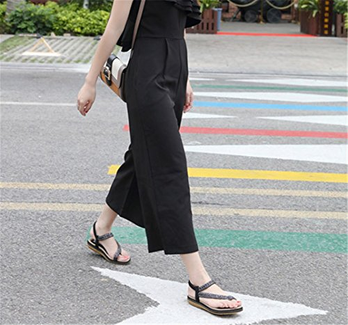 Sandales Chaussures Bout Ouvert Plates Noir Ville Été De Femme À RRqvwZC