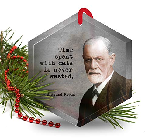 Sigmund Freud - Famous Scientists Glass Christmas Ornament (Home Unusual For The Ornaments)