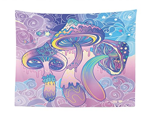 Lunarable Mushroom Tapestry, Trippy Drawing Hippie Design Sixties Visionary Psychedelic Shamanic, Fabric Wall Hanging Decor for Bedroom Living Room Dorm, 28 W X 23 L inches, Aqua Pale Pink Purple