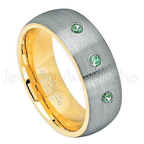 8mm Yellow Gold Inner Comfort Fit Brushed 2-Tone Dome Tungsten Wedding Band - 0.21ctw Emerald 3-Stone Ring - May Birthstone (Emerald Gold Mens Bands)