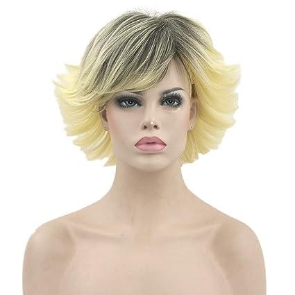Peluca Peluca, 30cm Pelo Rizado Corto Sintético Natural Para Mujer Color Dorado Gradiente Negro Resistente