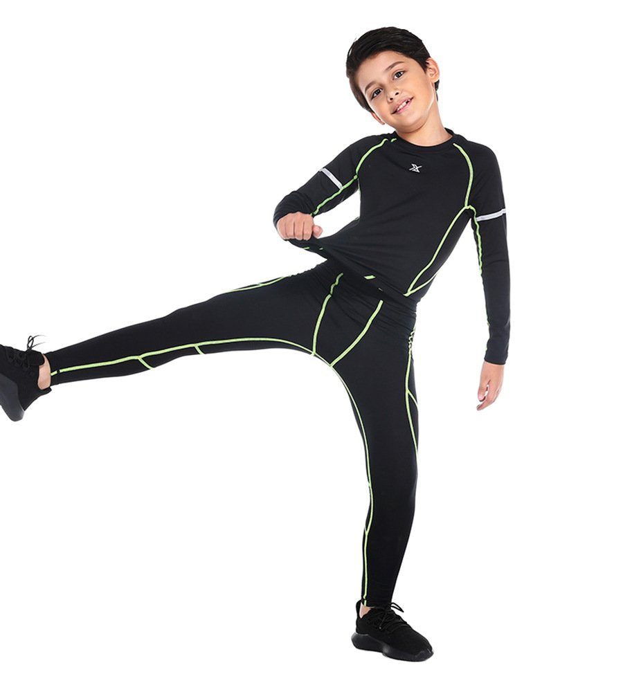 G-Fengshang Boy's Sports Base Layer Compression Shirts and Pants 2 Pcs Set