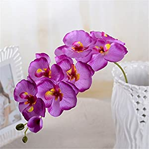 Rvbyjfg Artificial Flower Butterfly Orchid Silk Bouquet Phalaenopsis Wedding Decor Light Purple 46