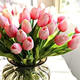 "24pcs 13"" Artificial Flowers Tulip with Leaves Flower Bouquets Home Wedding Decoration (Pink)"