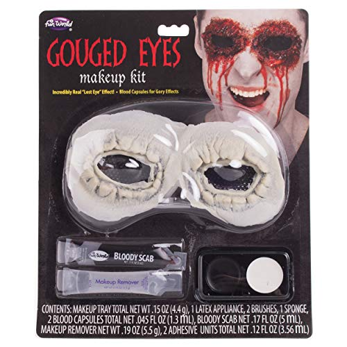 Fun World Gouged Eyes Make Up 11pc Special Effects Kit, Red Pink White