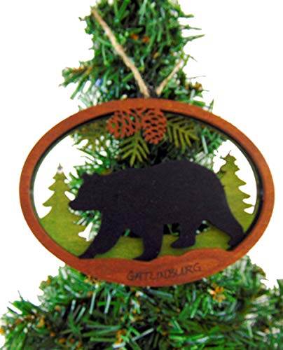 (Gatlinburg Tennessee Christmas Tree Ornament Wooden Gift Boxed )