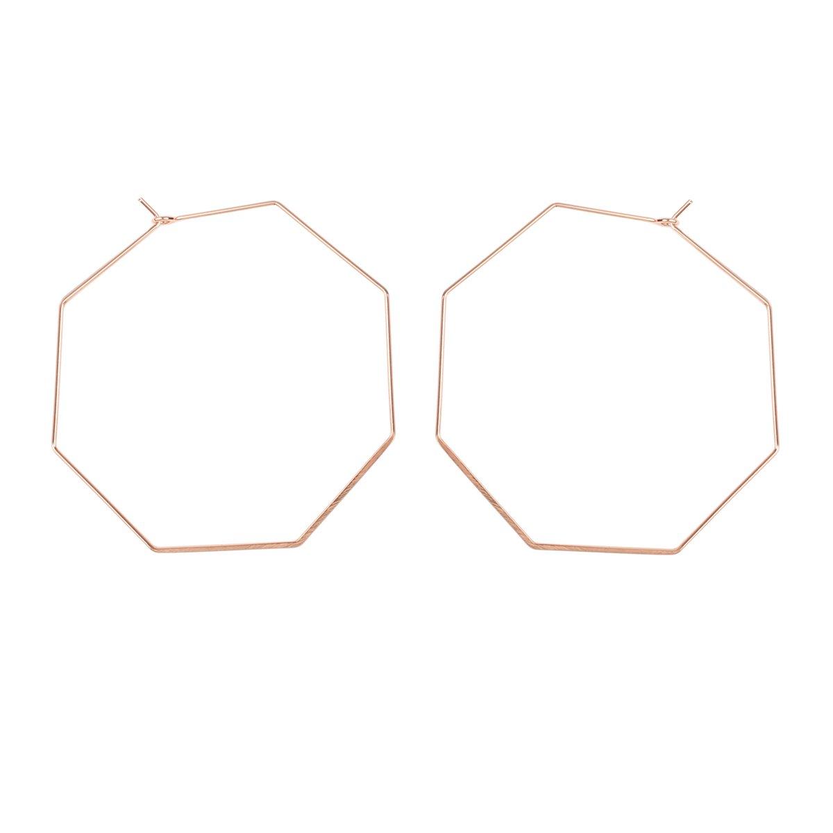 RIAH FASHION Lightweight Geometric Hoop Earrings - Classic Brass Wire Threader Dangles (Octagon Rose Gold)
