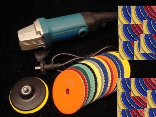 4'' Grinder Polisher + 4'' POLISHING 14 PADS Granite Marble Concrete by Asia Pacific Construction