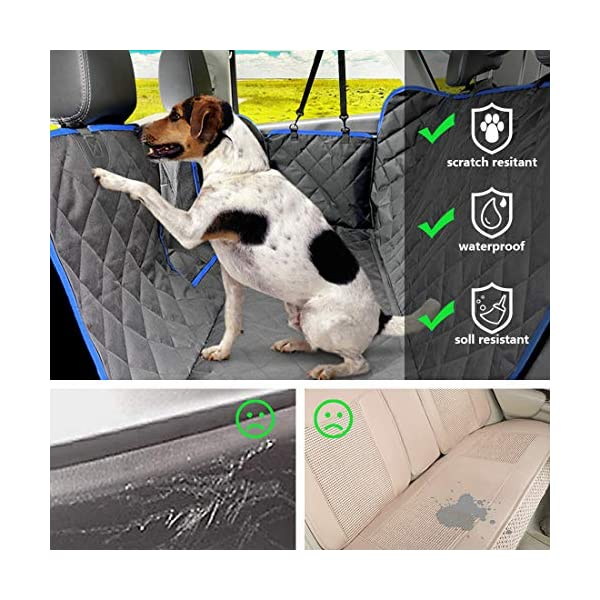 SUPSOO Dog Car Seat Cover Waterproof Durable Anti-Scratch Nonslip Back Seat Pet Protection Dog Travel Hammock with Mesh Window and Side Flaps for Cars/Trucks/SUV 3