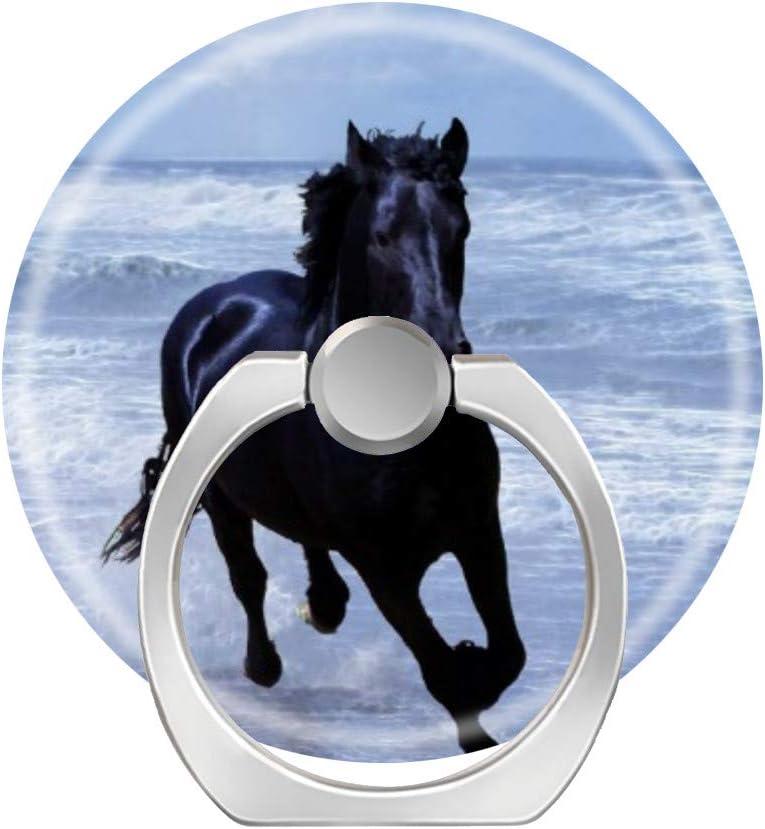 Soporte de anillo para teléfono móvil, soporte de agarre de dedo cuadrado, anillo de soporte para auto, anillo para teléfono inteligente, tableta, un caballo salvaje y libre en la playa