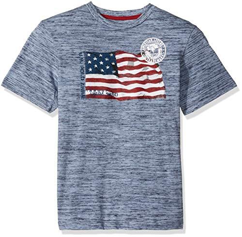 U.S. Polo Assn. Boys' Big Short Sleeve American Flag T-Shirt, Blue Injection, 14/16 ()