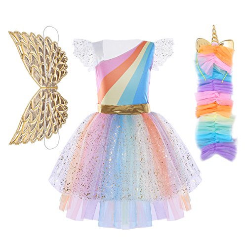 FEESHOW Kids Girls Rainbow Tutu Dress with Headband Halloween Cosplay Costumes Party Outfit Fancy Dress up Clothes Rainbow (3pcs set) 5-6 -