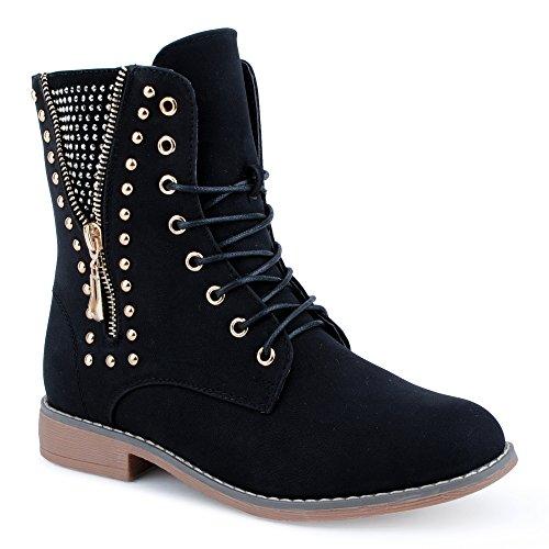 Damen Stiefeletten Stiefel Nieten Warm Gefüttert Reißverschluss Blockabsatz Schnür Biker Boots Schuhe Schwarz EU 39