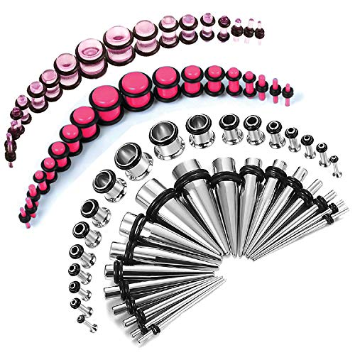 BodyJ4You 72PC Gauges Kit Pink Acrylic Plugs Stainless Steel Tapers 14G-00G Ear Stretching Set