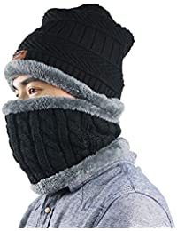 Beanie Hat Scarf Set Thick Knit Hat Warm Fleece Lined Scarf Winter Hats Snow Ski Skull Cap for Men Women