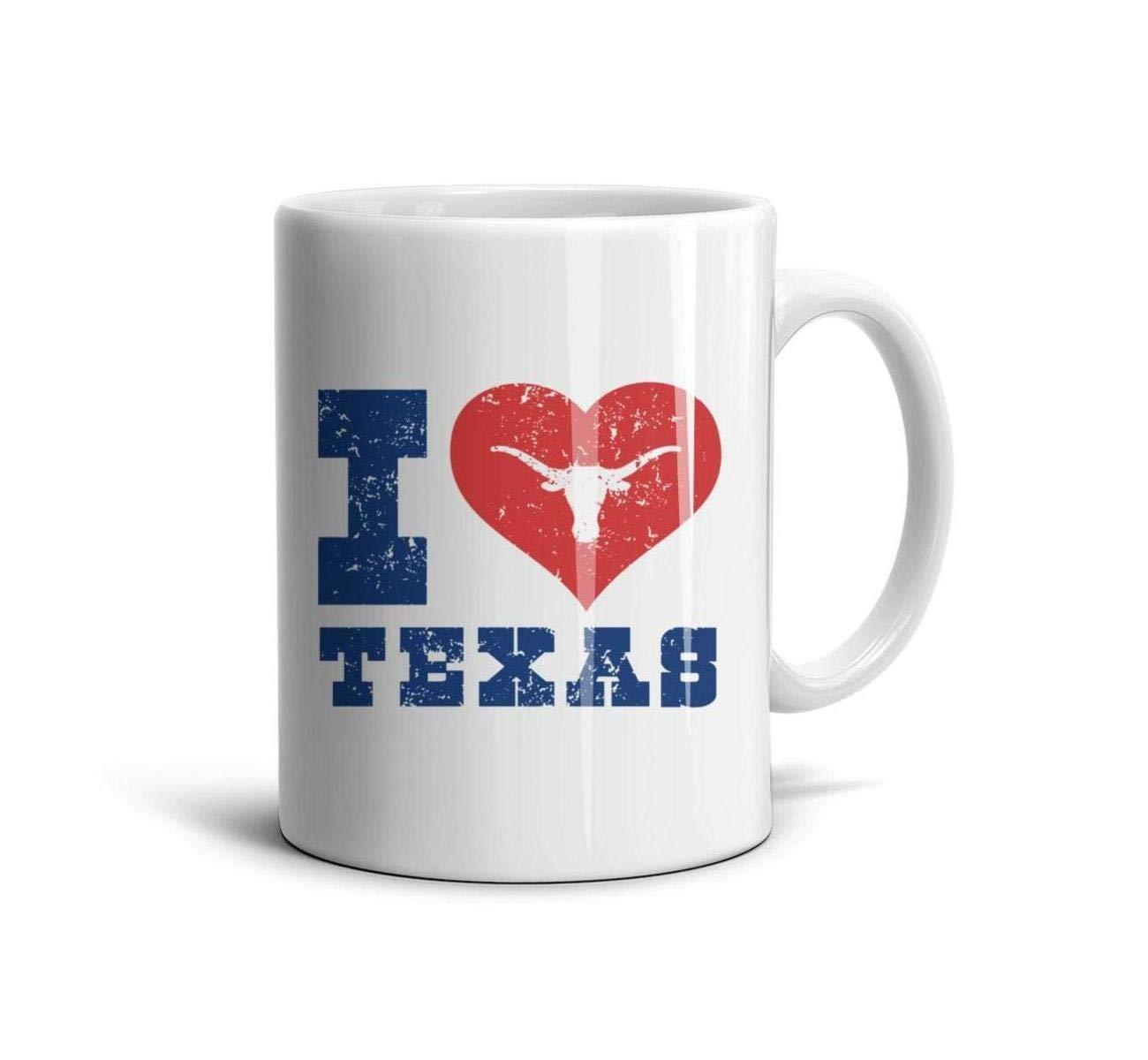 Shirtjkdsaa Funny Coffee Mug I Love Texas Longhorn Design Art - I Love Texas Fashion White Ceramic Daily Use Reusable Espresso Cup