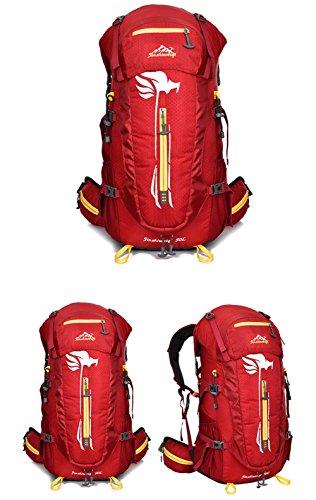 Hombres 50L profesionales mochilas de senderismo de deportes al aire libre que acampa impermeable Bolsas Mochilas Trekking hombros , red Red