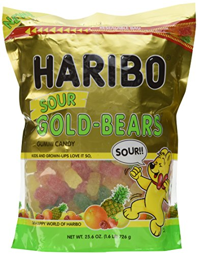 Haribo Sour Gold-Bears Gummi Candy - 1.6 LB Resealable Bag - New -