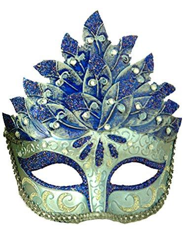 [Pure Seasons Colombina Leaf Venetian Mask (Blue)-Standard] (Colombina Leaf Silver And Black Mask)