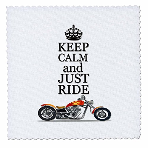 3dRose Keep Calm and Just Ride. Cool Motorcycles Saying. - Quilt Square, 12 by 12-Inch (qs_220704_4)