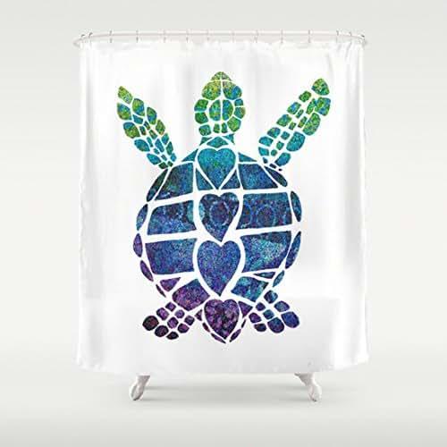 Amazon Com Sea Turtle Love Shower Curtain Handmade