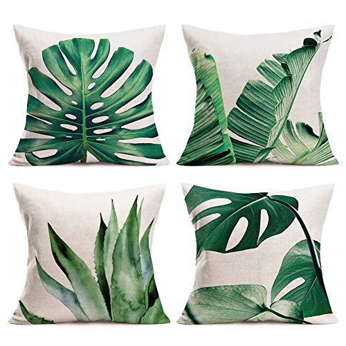 Palm Leaves Throw Pillow Covers Cotton Linen Home Decorative Pillow Covers 18 x 18 Set of 4 Pillowslip with Tropical Banana Palm Monstera Leaves Print for Summer Style Decor (Tropical Palm Series)