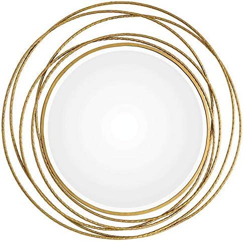 Uttermost Round Wall Mirror in Metallic Gold