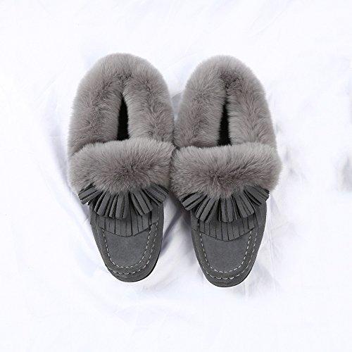 FUFU Halbschuhe mit Quasten Frauen Schuhe  Winterkomfort Flache Ferse  Für Freizeit Grau