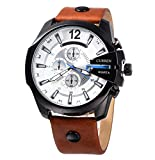 CURREN Original Men's Sports Waterproof Calendar Leather Strap Wrist Watch Good Quality 8176 Black Brown