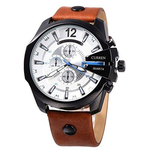 CURREN Original Mens Sports Waterproof Calendar Leather Strap Wrist Watch Good Quality 8176 Black Brown